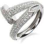 Meucci Luxusní stříbrný prsten hřebík se zirkony
