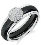 Meucci Stříbrný prsten s černou keramikou a zirkony