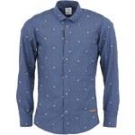 Tmavě modrá žakárová košile Bertoni Slim Fit