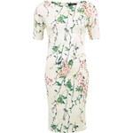 Bílé šaty s květinovým vzorem a 3/4 rukávem AX Paris