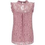 Růžová krajková halenka ke krku Dorothy Perkins