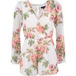 Bílý overal s růžovými květinami New Look