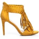 SERGIO TODZI Módní žluté sandály s třásněmi