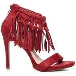 VICES Módní červené sandály s třásněmi 39