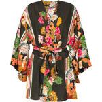 Farm Kimono Noir à Fleurs Colorées, Esprit Japonais - Kimono Bacana