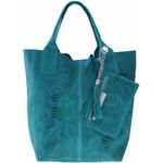 Genuine Leather Shopperbag kožená kabelka vzory 3D tyrkysová