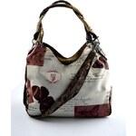 Krémová trendy kabelka s hnědým vzorem Madona Marlen 1033