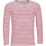 Pánské pruhované tričko s dlouhými rukávy - Bílo červená S