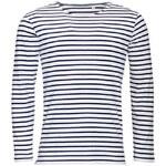 Pánské pruhované tričko s dlouhými rukávy - Bílá a temně modrá S