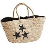 Madam Stoltz Slaměná taška Black Stars