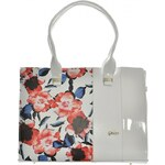 Grosso Velké kabelky / Nákupní tašky Praktická bílá květovaná kabelka S499 Grosso