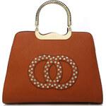 Moda Handbag Módní hnědá kabelka s ozdobnými kruhy K2628
