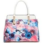 Moda Handbag Moderní lakovaná kabelka s květy 6002 bílá