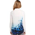 Lesara Bluse mit blauen Blüten - Weiß - S