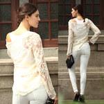 Lesara Shirt mit Spitze - Beige - M