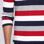 Lesara Langarm-Poloshirt mit Streifen - Mehrfarbig - S