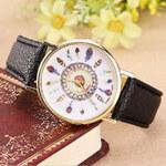 Lesara Armbanduhr mit Feder-Motiven - Schwarz