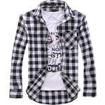 Re-Verse Karo-Hemd mit abgesetzter Brusttasche - Weiß - XL