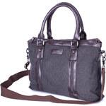 Lesara Canvas-Businesstasche mit Kunstleder-Details - Dunkelgrau