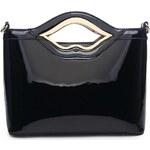 Moda Handbag Kabelky Černá lakovaná kabelka do ruky A34206 Moda Handbag