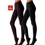 LAVANA Punčochové kalhoty z úpletu, 2ks tmavě hnědá+ černá