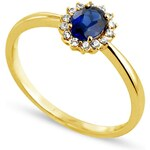 Tous mes bijoux Bague en or sertie de diamants et de saphir - bleu