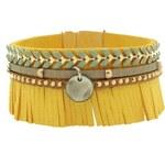 Poapo Christophe - Bracelet manchette en cuir - jaune