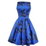Retro šaty Lady V London Blue Butterfly Tea