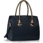 LS fashion LS dámská kabelka se zlatými držadly 113 tmavě modrá