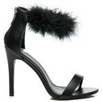 DOLI-BERRY Sexy černé sandály na podpatku