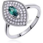 SENTIELL Čarovný prsten markýzového tvaru se samragdovým zirkonem