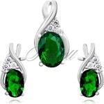 SENTIELL Božská souprava stříbrných šperků se smaragdovým zirkonem