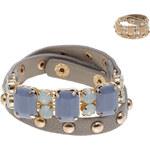 Lesara Wickel-Armband mit Steinen - Beige