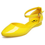 LightInTheBox XNG 2014 Spring One Button Candy Color Sandal Shoes (Yellow)