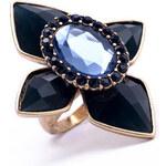 Prsten retro flower modrý C52804