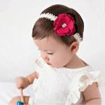 Čelenka pro miminka s květinkou červená C55644