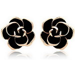 LightInTheBox Charming Gold Plated with Black Rose Earrings