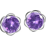 LightInTheBox Sweet Silver Plated Silver With Purple Cubic Zirconia Flower Shape Women's Earring