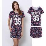 Lesara 2-teiliges Schlafanzug-Set T-Shirt & Shorts Blumen - S
