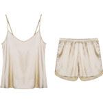 Lesara 2-teiliges Schlafanzug-Set Top & Shorts Satin - Nude - M