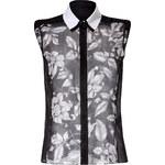 Ostwald Helgason Sheer Silk Floral Print Sleeveless Shirt