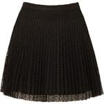 Topshop Black Lace Pleat Mini Skirt