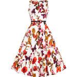 Retro šaty Lady V London Audrey White Butterfly Floral