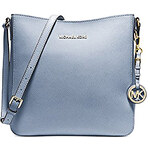 Kožená kabelka Michael Kors jet set travel messenger large pale blue