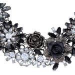Náhrdelník s květinami černý C50208