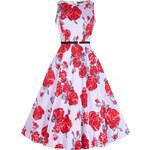 Retro šaty Lady V London Audrey Red Rose Floral on Lilac 40