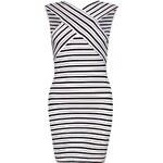 BOOHOO Černo-bílé pruhované šaty Erin