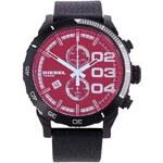 Pánské hodinky s černým koženým páskem a barevným ciferníkem Diesel
