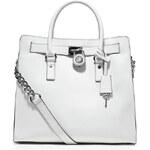 Bílá kožená kabelka Michael Kors Hamilton large saffiano silver