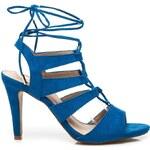 VICES Vázané modré sandály na podpatku